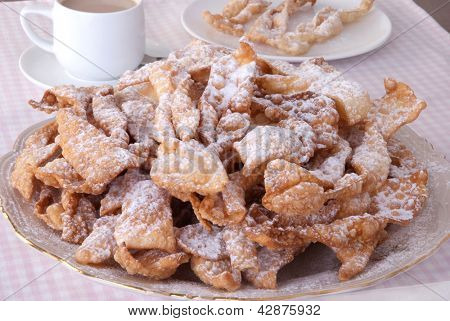 Traditional Polish carnival pastry called ' faworki' or 'chrust' poster