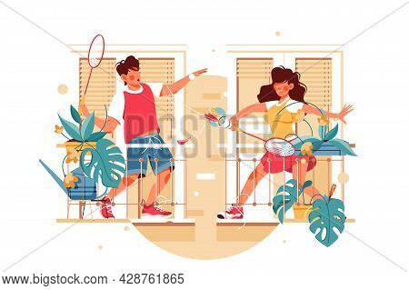 Girl And Guy On Balcony Play Badminton Vector Illustration. Young People Playing Sport Game Flat Sty