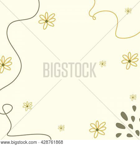 Flower Pattern And Curved Line Background With Pastel Color Can Be Used As Cartoon Vector