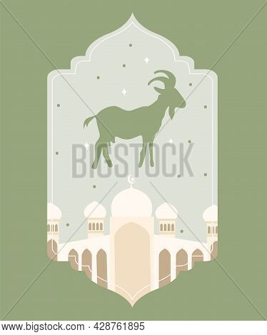 An Idul Adha Card Which Green Color In The Middle Are The White Mosque And Sheep With The White Back