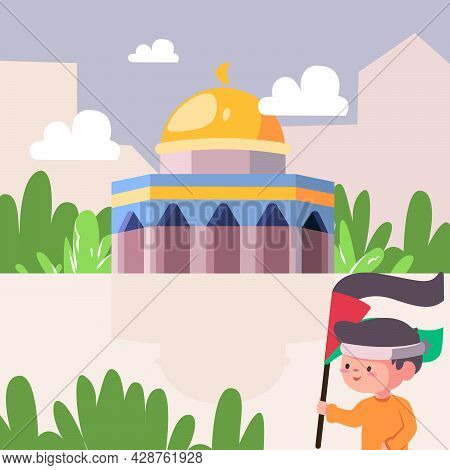 A Patriotic Child With Free Palestine Flag That Colored Green Red Black And White, Aqsa Mosque With