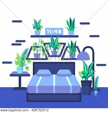 Any Various Green Plants In Vase Put In Your Bed Room With Blue Bed Sheets And Blue Carpet Makes You