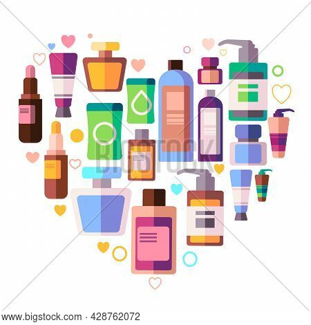 Beauty Care Product Likes Soap Shampoo, Conditioner, Lipstick, Moisturizer Cleanser And Perfume In A