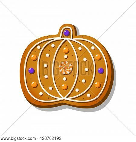Halloween Gingerbread Cookies In The Shape Of Cute Pumpkin With Icing Isolated On White Background.