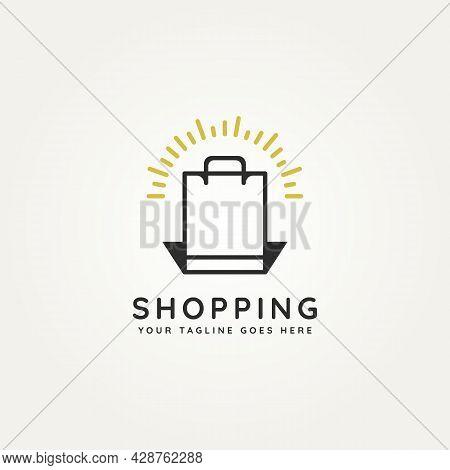 Shopping Minimalist Line Art Logo Icon Template Vector Illustration Design. Simple Modern Online Sho