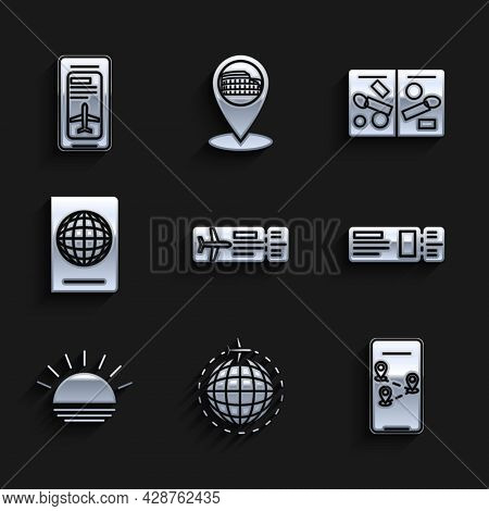 Set Airline Ticket, Globe With Flying Plane, Infographic Of City Map Navigation, Travel, Sunset, Pas