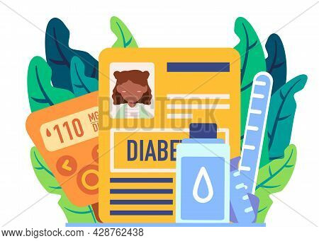 Woman With Diabetes Should Control Her Blood Glucose Regularly No Sugar And Eats Healthy Food Likes