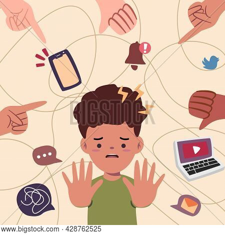 Kid Using Social Media Likes Handphone Too Much Having Great Possibility To Get Cyber Harrasment Bul
