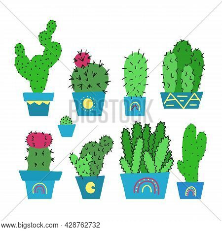 Set Of Hand Drawn Green Different Cactuses With Thorns In Pots. Home Flowers For Room Decor. Vector