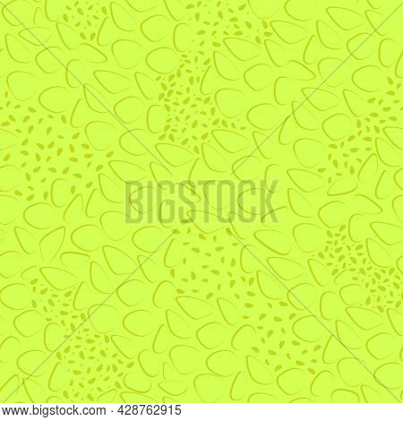 Moon Surface Abstract Neon Texture Seamless Pattern. Yellow Neon Surface For Fabric Design. Flat Vec
