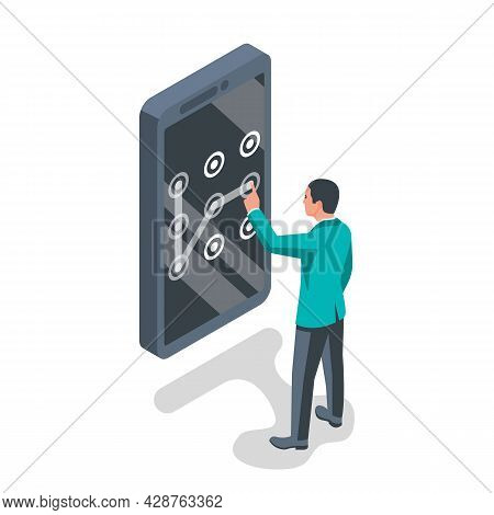 Unlock Screen. A Man Holds A Smartphone In Hand. Finger Touching The Screen. Graphic Pattern As A Sy