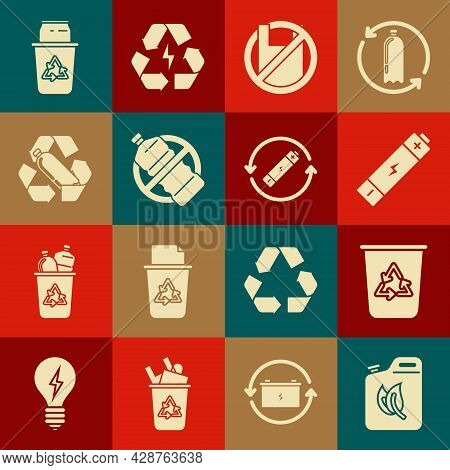 Set Bio Fuel Canister, Recycle Bin With Recycle Symbol, Battery, Say No To Plastic Bags Poster, No B