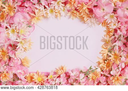 Pink Flower Whiteboard And Empty Space For Text And Characters,plastic Flowers, Various Types Of Flo