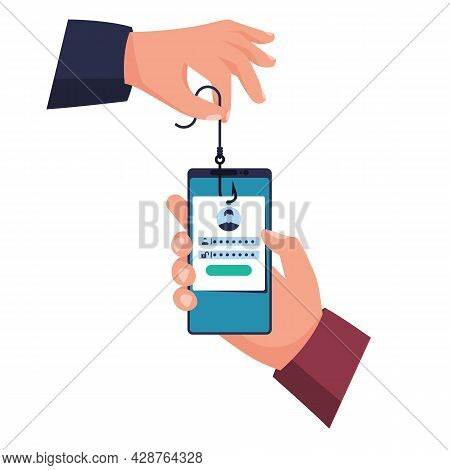 Hacked Account. Smartphone In Hand, Hook In Hand. Fraudster Steals Personal Data. Account Theft. Fis