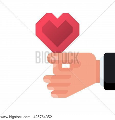 Heart In Hands. Vector Illustration Cartoon Design. Crypto Style. Isolated On White Background. Conc