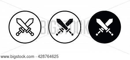 Roman Sword Icons Button, Vector, Sign, Symbol, Logo, Illustration, Editable Stroke, Flat Design Sty
