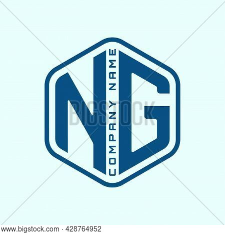 Blue Letter Ng In Hexagon Shape Isolated On Cyan Color Background. Polygonal Monogram, Intial, Alpha