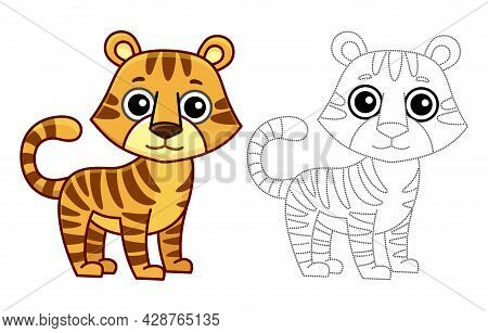 Coloring Animal For Children Coloring Book. Funny Tiger In A Cartoon Style. Trace The Dots And Color