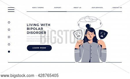Bipolar Disorder Web Template. Woman Shows Two Face Mask With Happy And Unhappy Mood. Manic Depressi