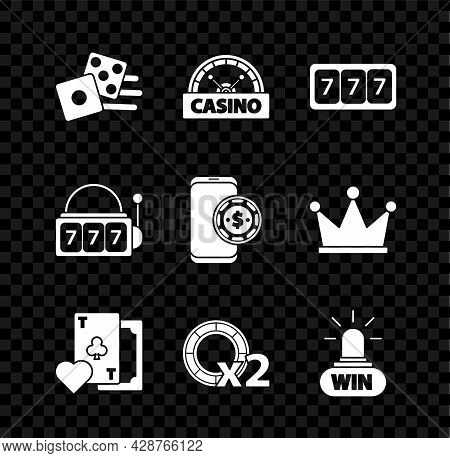 Set Game Dice, Casino Signboard, Slot Machine With Lucky Sevens Jackpot, Playing Card Clubs Symbol,