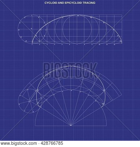 Cycloid And Epicycloid Tracing On Technic Background
