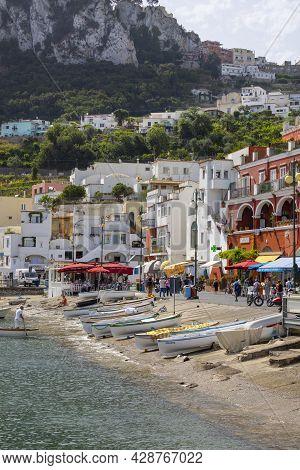 Capri Island, Naples, Italy - June 28, 2021: Marina Grande, Main Port For Tourist Ships Off The Coas