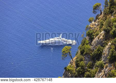 Picturesque View Of The Tyrrhenian Sea Near The Beach Marina Piccola, A Luxury Yacht On Background O