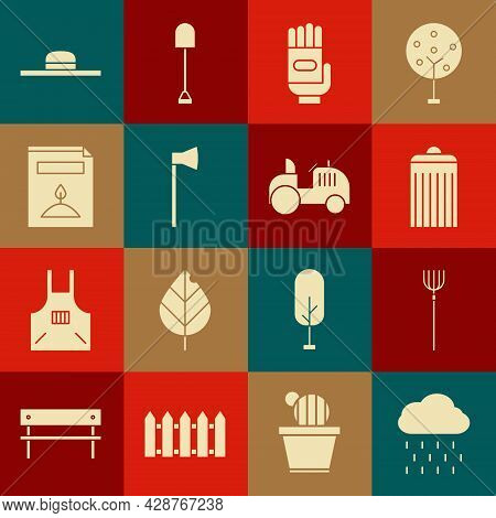 Set Cloud With Rain, Garden Pitchfork, Trash Can, Gloves, Wooden Axe, A Pack Full Of Seeds Of Specif