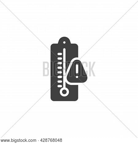 Warning Thermometer Temperature Vector Icon. Filled Flat Sign For Mobile Concept And Web Design. Ove