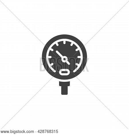 Temperature Gauge Vector Icon. Filled Flat Sign For Mobile Concept And Web Design. Gauge Meter Measu
