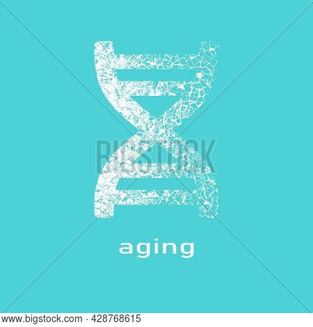 Concept Of Biochemistry With Abstract Dna Symbol In Distorted Style. Aging Text