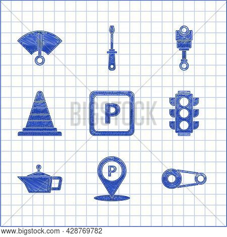Set Parking, Location With Parking, Timing Belt Kit, Traffic Light, Canister For Motor Machine Oil,