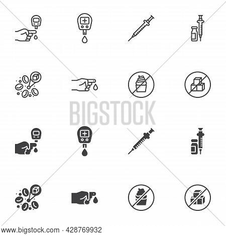 Diabetes Icon Set, Line And Glyph Version, Outline And Filled Vector Sign. Diabetes Mellitus Linear