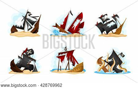 Wreckage Of Pirate Ship Or Vessel With Ripped Black And Red Sail Vector Set