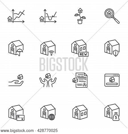 Real Estate Business Line Icons Set, Outline Vector Symbol Collection, Linear Style Pictogram Pack.