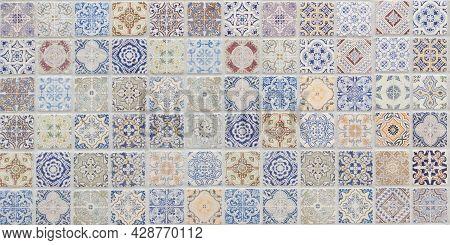 Azulejo Colourful Vintage Floral Background In Tiles Patchwork Wallpaper Pattern