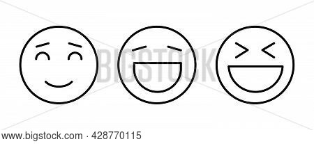 Happy Laugh Smile, Smiling, Funny Icon Button, Vector, Sign, Symbol, Logo, Illustration, Editable St