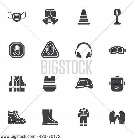 Personal Protective Equipment Vector Icons Set, Modern Solid Symbol Collection, Filled Style Pictogr