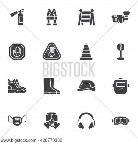 Work Safety Equipment Vector Icons Set, Modern Solid Symbol Collection, Filled Style Pictogram Pack.