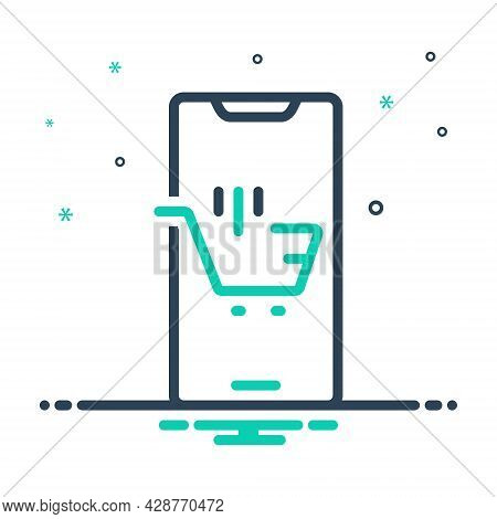 Mix Icon For Ecommerce Browsing Spending Purchasing Mobile Trolly Online-shopping Digital Supermarke