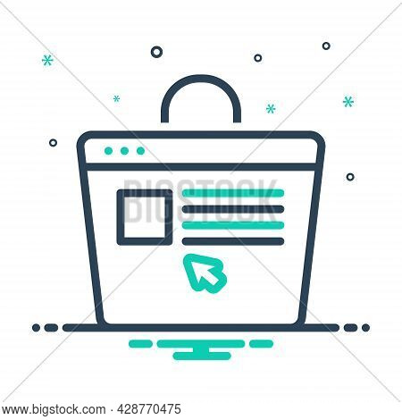 Mix Icon For Ecommerce Browsing Spending Purchasing Website Online-shopping Digital Supermarket Purc