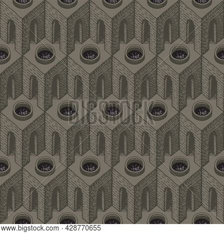 Seamless Pattern With Hand-drawn Architectural Elements. Vector Background With 3d Cubic Elements, A