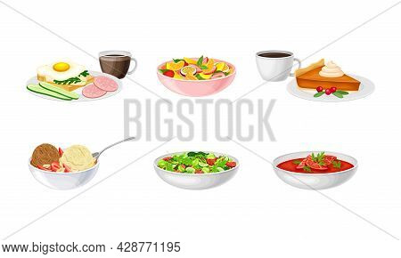 Green Salad In Bowl And Gazpacho Soup With Tomato And Herbs Vector Set