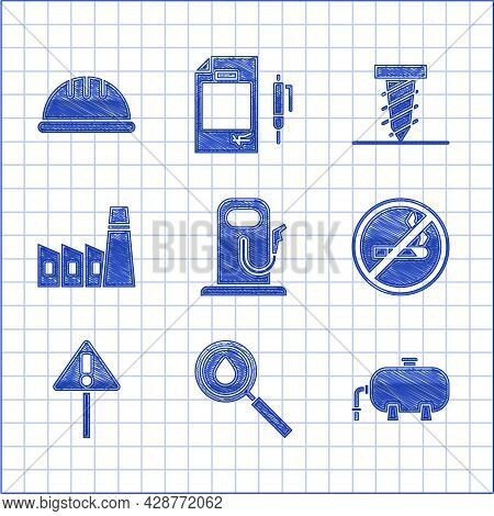 Set Petrol Or Gas Station, Oil Drop, Industrial Factory Building, No Smoking, Exclamation Mark Trian