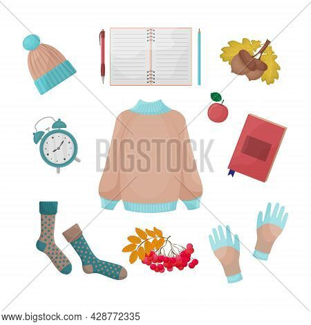 Big Autumn School Set. With The Image Of Warm Clothes And School Supplies, Such As A Notebook, A Pen
