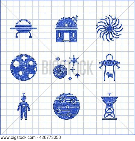 Set Space And Planet, Planet Mars, Satellite Dish, Ufo Abducts Cow, Astronaut, Moon, Black Hole And