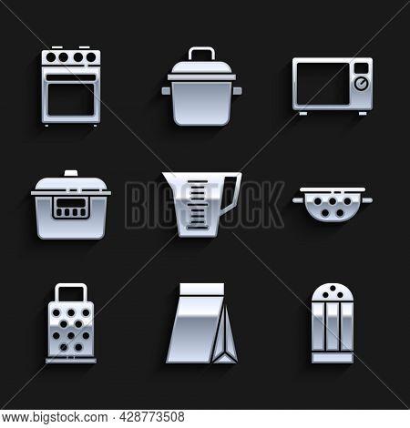 Set Measuring Cup, Bag Of Coffee Beans, Salt, Kitchen Colander, Grater, Slow Cooker, Microwave Oven