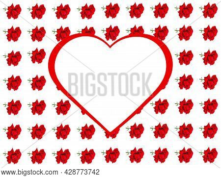 Heart Symbol And Red Roses On A White Background.