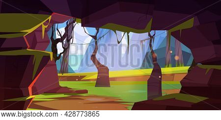 Cave In Rock In Jungle Forest With Mountains And Sea On Horizon. Vector Cartoon Tropical Landscape W