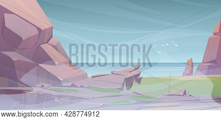 Summer Landscape With Sea And Mountains In Fog. Vector Cartoon Illustration Of Seascape With Rocks,